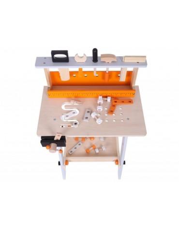 EcoToys medinės dirbtuvės su 32 priedais