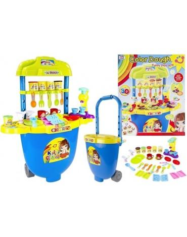 Vaikiška virtuvė su ratukais ir daug priedų
