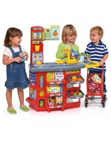 Molto vaikiška parduotuvėlė su prekių vežimėliu