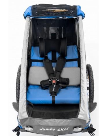 Vienvietė dviračio priekaba su lingine pakaba mėlyna