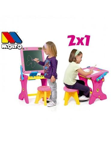 2in1 Molto rašomas stalas vaikams - magnetinė piešimo lenta