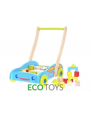 Ekologiškas EcoToys medinis stumdukas žydras