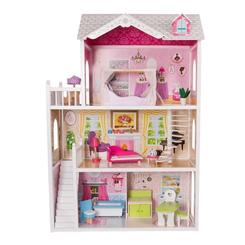 Eco Toys medinis lėlių namelis, 124 cm.