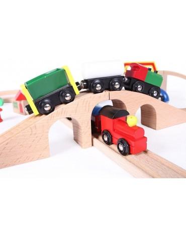 EcoToys medinė traukinių trasa su 49 elementais