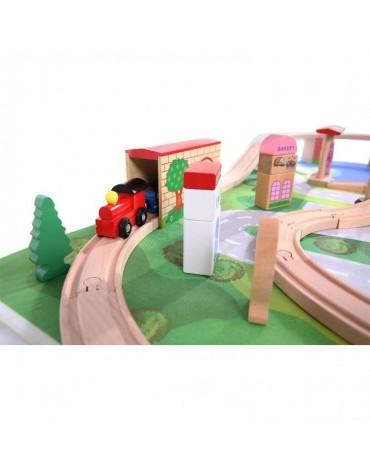 EcoToys medinė traukinių trasa su 50 elementų + kilimėlis