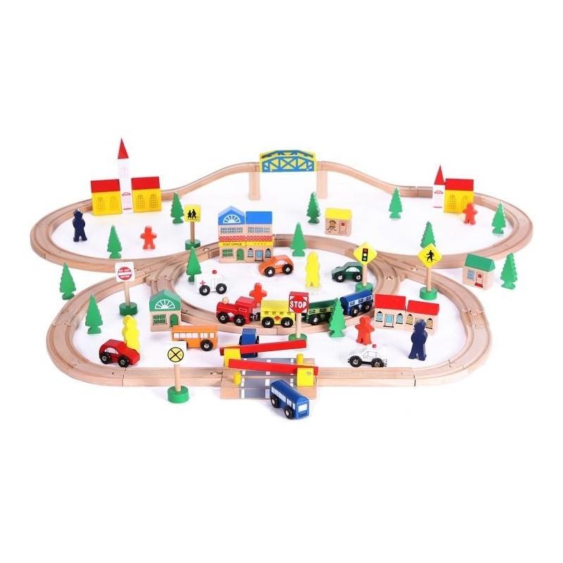 EcoToys medinė traukinių trasa su 100 elementų
